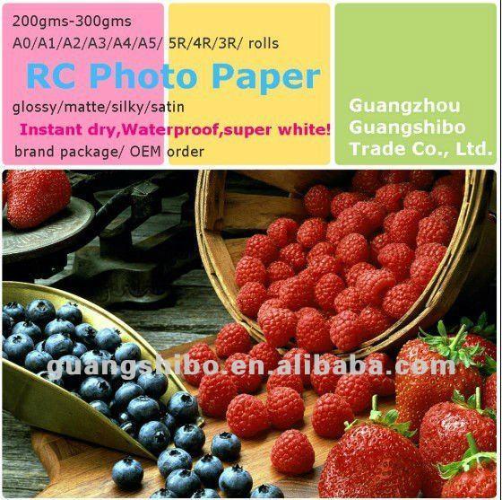 قسط نفث الحبر ورق الطباعة RC A3/A4/A5 صور، ماء A3/A4/A5 RC الورق المصقول عالي