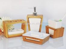 Casa de bambú decoración cuarto de baño conjunto/artículos para el hogar de bambú y cerámica 4pc accesorios set