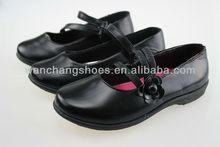 Hot black children girl school shoes pu shoes