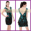AO61534 sexy jersey deep V-neck feather embroidered mini cocktail dresses for 2014