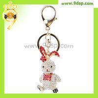 2013 wholesale Rabbit with flower Rhinestone custom keychain