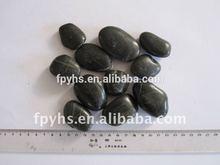 black polished pebble cobbles natural stone
