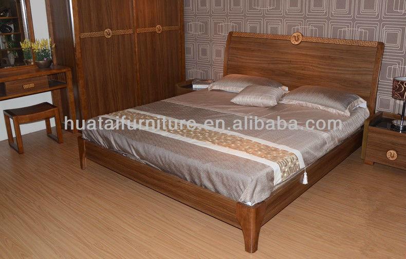 الخشب الصلب أثاث غرف النوم سرير مزدوج
