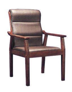 couro da cadeira do escritório reunião cadeira com pés em madeira maciça e braço