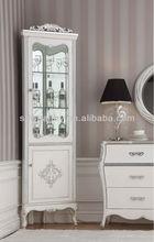 Estilo francés antiguo gabinete de la esquina/de madera esquina del gabinete del vino/de estilo neoclásico de madera maciza gabinete decorativos mg-9657