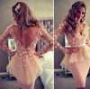 Myriam Fares Fashion Scalloped Neck Long Sleeve Flowered Organza One Piece Girls Party Dresses