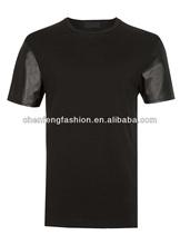 PU leather sleeve t shirts men CTT0001
