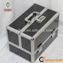 MLD-CC266 Black Pu Leather Portable Aluminium Makeup Beauty Case