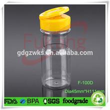 100ml PET salt and pepper spice shakers shaker plastic bottle,flip top cap/lid