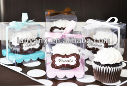 Personalized clear single cupcake boxes with insert