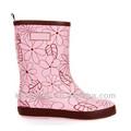 nova fidalga ligeira rosa impressão botas de chuva para as crianças