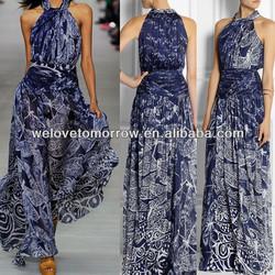 Printed Chiffon Maxi dresses New designer, korean fashion dresses for summer, long casual dresses(TW0174MD)