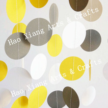 Yellow - Gray - White Paper Garlands, Wedding, Bridal Shower, Birthday, Baby Shower, Nursery