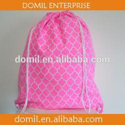 Wholesale Quatrefoil Cotton Canvas Drawstring Gym Bag, Muti Color for Choice with Rope Handle QUA1040016
