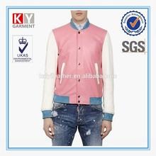 Fashion 2015 varsity baseball style pink and white leather man korea jacket