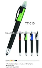 Push action ball pen and touch pen and highligher