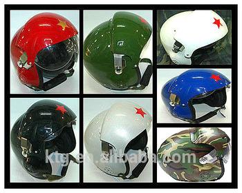 Green military flying safety helmet