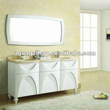 Elegant Double Bowl Solid Wooden Bathroom Cabinet
