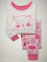 2014white cat cheap cotton baby cloth children's pajamas sleeping wear suit sets PL116