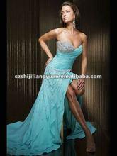 sj1089 new design low price wholesale custom bead evening gown