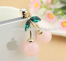 fashion pink cherry rhinestone dust plug dustproof plug wholesale