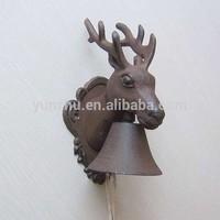 French garden antique cast iron deer head handing door bells