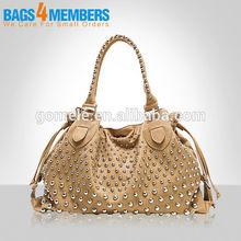 2015 famous name brand stud handbag/ hot sale in Erope and USA unique leather shoulder bag for sale