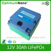 Rechargeable lifepo4 batteries 12v 30ah battery for electric bike