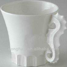 china manufacturer white ceramic mug 3D porcelain animal handle mug sea horse mug,