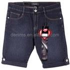 CWL-1791M Women fashion design clothing deep color for clothes shop short denim black jeans
