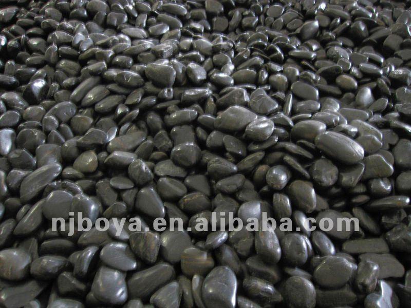 Black polished stone landscaping river rock buy for Black granite landscape rock