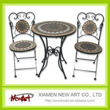 2014 Patio Mosaic Tile Metal Garden Table And Chair Cheap Outdoor Cast Iron Garden Furniture