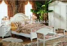 Antique white bedroom furniture set bed / dresser / table