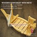 madeira barco de sushi com redes