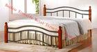wooden poster metal double bed in bedroom furniture