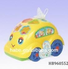 Pull Line Cartoon Intelligent Brick Car, Funny Educational Baby Toys