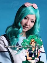 wholesale synthetic fiber wavy Kanekalon silk dark blue cosplay wig