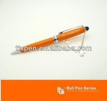Luxury orange branded pen with expoxy logo