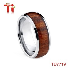 wholesale jewelry titanium ring fashion men's ring wood inlay tungsten ring
