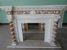 Sell inventory hand carving flower marble fireplace mantel,