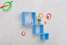 blue color Little round square floating shelf cubes