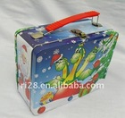 Metal tin lunch box with lock and key