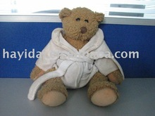 stuffed toy teddy bear with white clothing