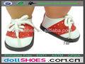 Red& branco bonito pu bebê nascido de futebol sapatos de boneca, boneca de tênis, 18 polegadas sapatos de boneca