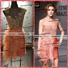 Wholesale Mini Taffeta Dress Sequined Beaded Real Cocktail Dress with Feathers 2014