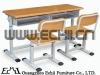 Double school desk and chair /Adjustable desk and chair/Durable school furniture desk and chair