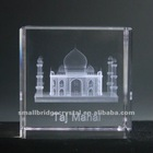 3D laser engraved India Taj Mahal building glass crystal gifts
