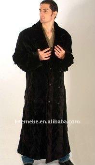 Ltmb 2014 nueva moda esquilada de piel de visón abrigo largo para hombre