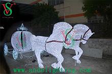 2015 new 3D motifs light led sculpture light decoration animal light horse carriage