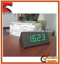 Wooden led digital clock with alarm date temperature